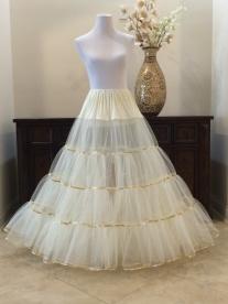 Crinoline Ivory Gold LameFloor Length Petticoat